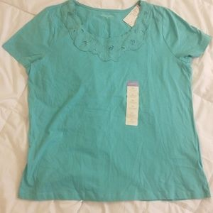 NWT Laura Scott Embroidered Cut Out Tee Shirt